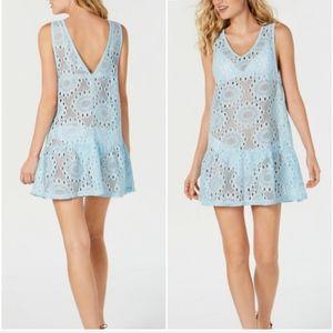 MIKEN SWIM Lace Crystal Blue Swimsuit Coverup, XS